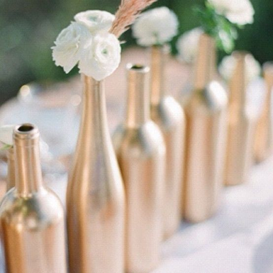 I Loved The Simplicity And Glam Of Gold Painted Wine Bottles Elegance Flowers On Pergola My Sister Deemed By Wedding Style As