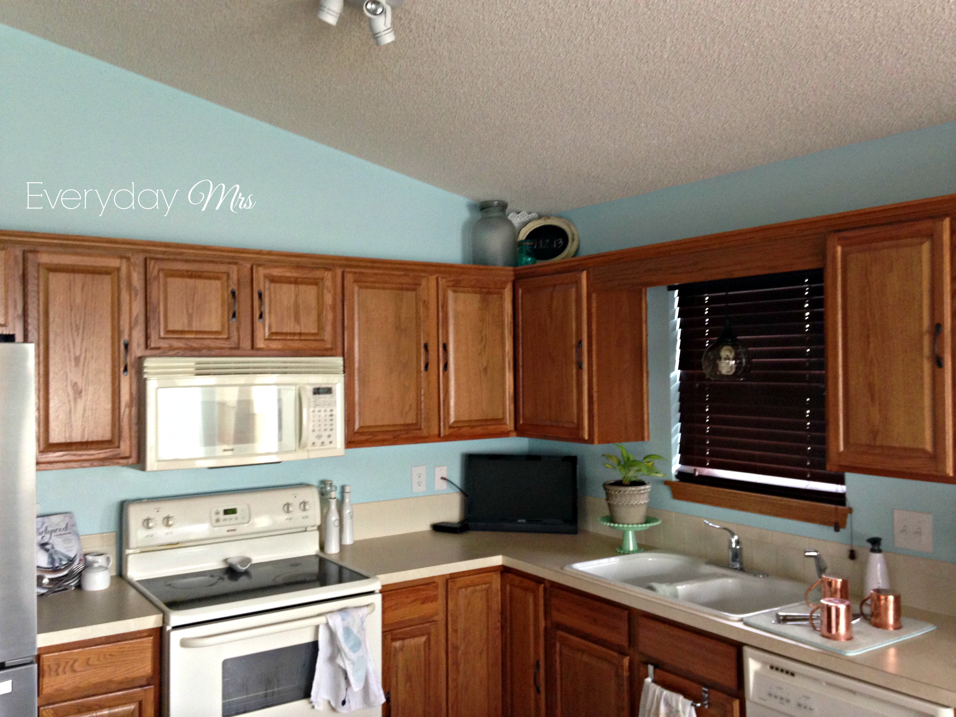 Kitchen transformation everyday mrs for Kitchen wall colors with honey oak cabinets
