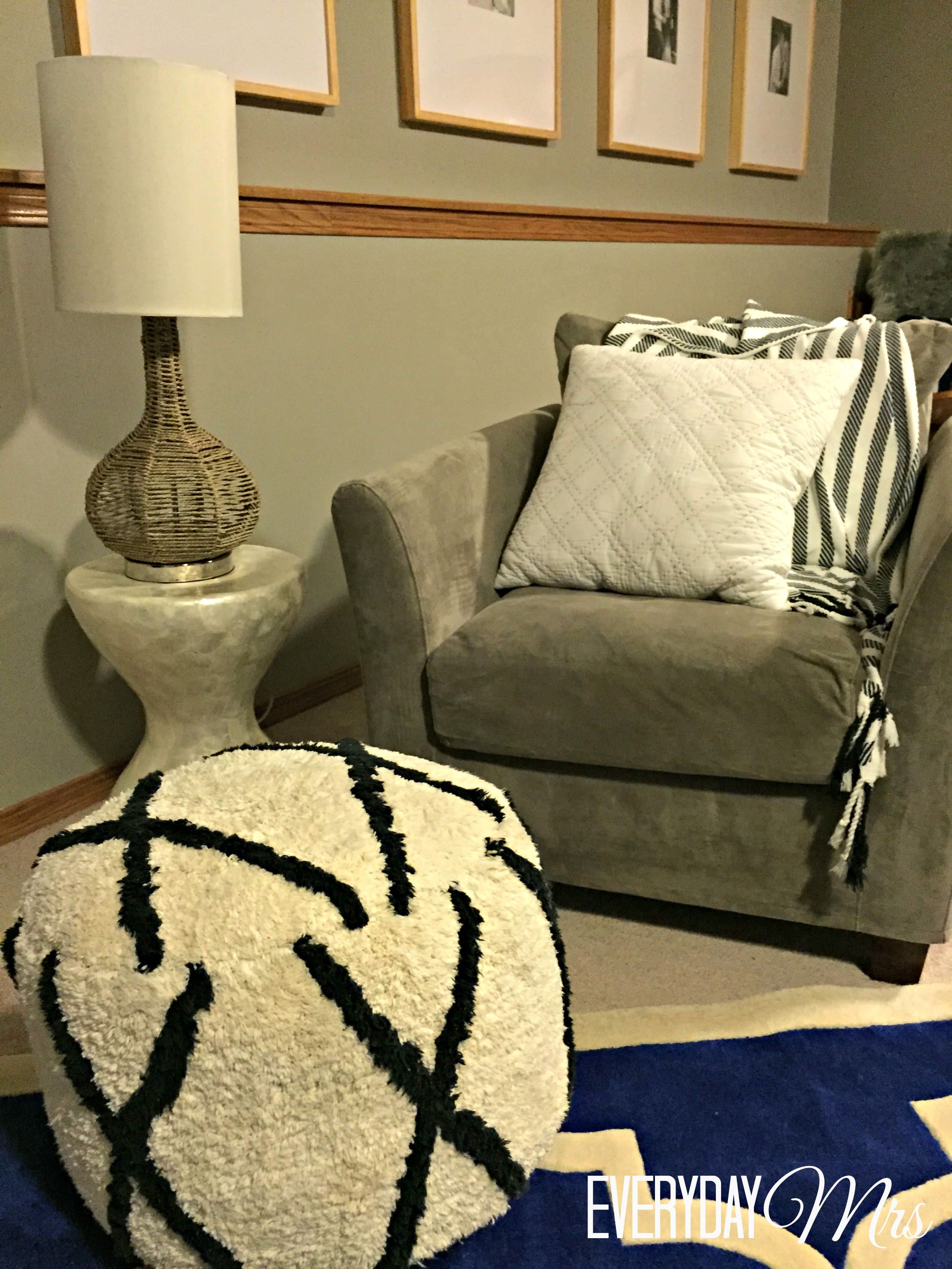 Holiday home tour part 2 everyday mrs this chair is also from world market the side table from tj maxx and the pouf from target nate berkus you rock geotapseo Choice Image